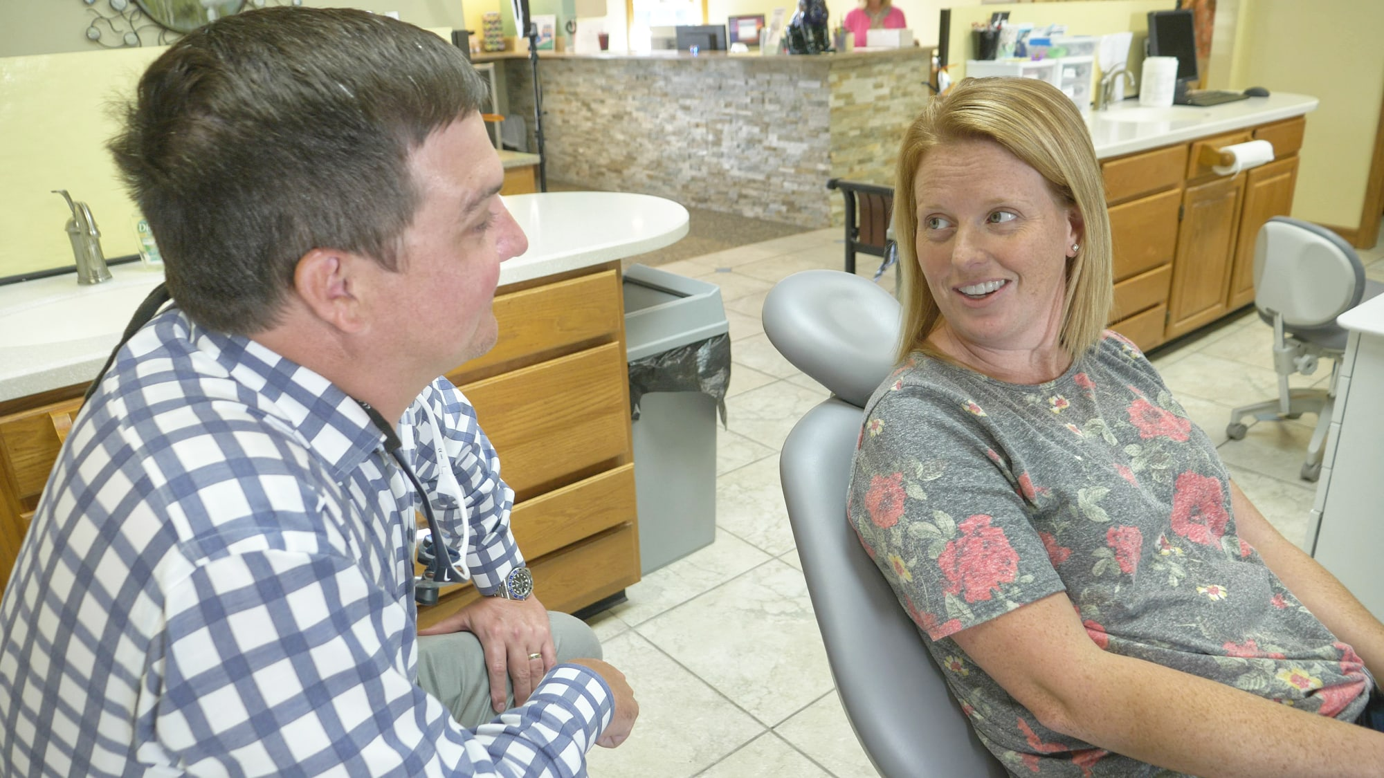 Dr. Westfall talking to a patient